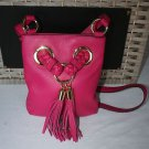 NWT~MICHAEL KORS LARGE LEATHER BRAIDED GROMMET CROSSBODY~ FUSCIA
