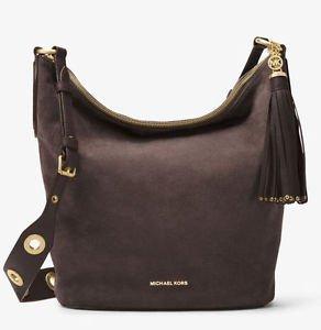NWT Authentic Michael Kors Brooklyn Large Suede Feed Shoulder Hobo Bag ~Coffee