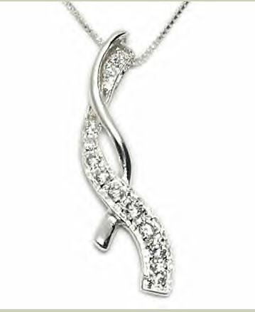 Stunning Sterling Silver Cubic Zirconia Journey / Twisted Necklace