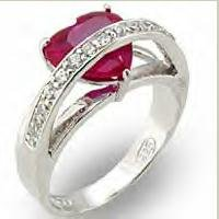 Ruby Heart CZ Ring