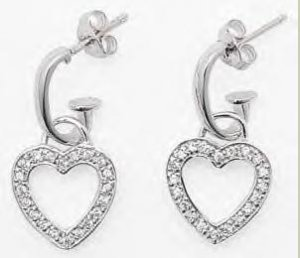 CZ Hanging Heart Earrings