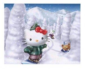 Hello Kitty Snowboarding