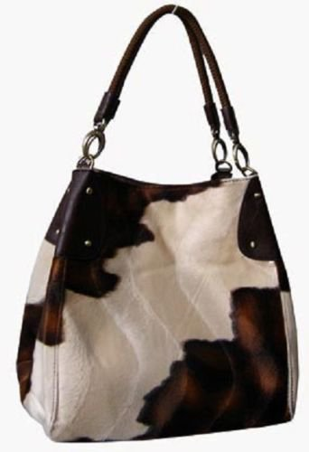 Cow Fur Hair Brown Tan Western Purse Bag Tote Large travel Handbag