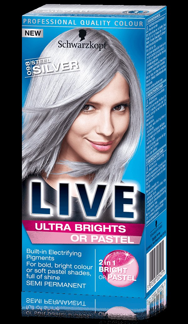 Schwarzkopf Live 098 Steel Silver Ultra Bright Or Pastel Hair Color