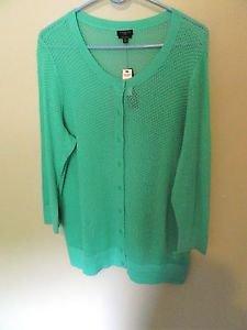 Talbots 3/4 Sleeve Button Down Sweater, 100% Pima Cotton, Size 1x