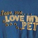 "Karen Scott 100% Cotton 3/4 Sleeve Shirt ""Love Me Love My Pet"" Size PL"