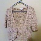 Avenue 100% Cotton Short Sleeve Crochet Sweater, Size 14/16