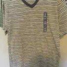 Gap 100% Cotton Mens Black Striped V-Neck Tee, Size Large