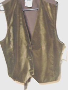 Leslie Fay Button Down Vest, Chocolate Brown Size XL