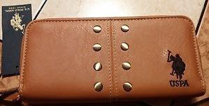 NEW U.S. POLO ASSN. TAN BIFOLD Zip Around Ladies WALLET Free Shipping