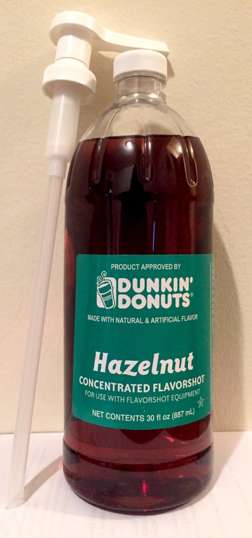 Dunkin Donuts Unsweetened Hazelnut Flavor Shot 30oz Bottle with Pump