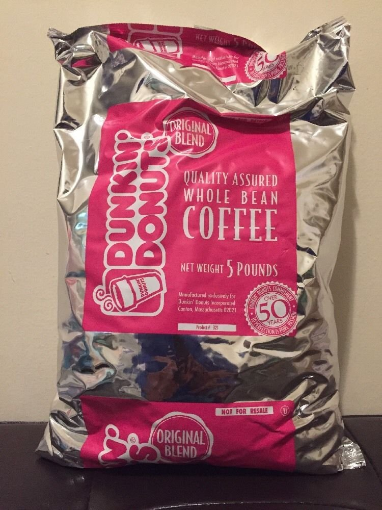 Dunkin Donuts Original Whole Coffee Bean 5 LB