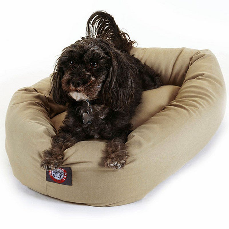 Majestic Pet Products 24-inch Khaki Bagel Bed