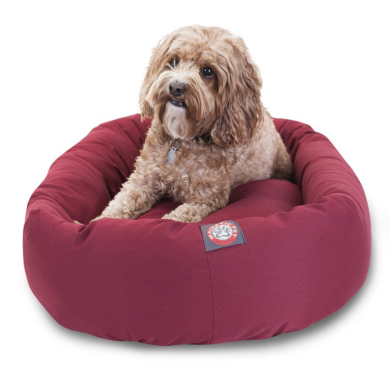 Majestic Pet Products 24-inch Burgundy Bagel Bed