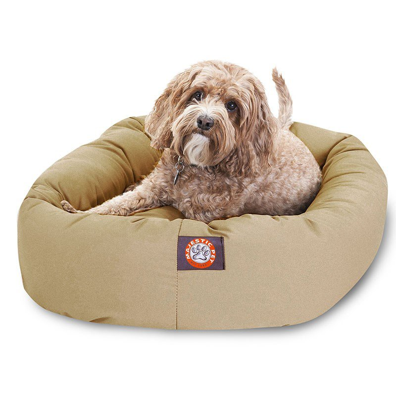 Majestic Pet Products 32-inch Khaki Bagel Dog Bed