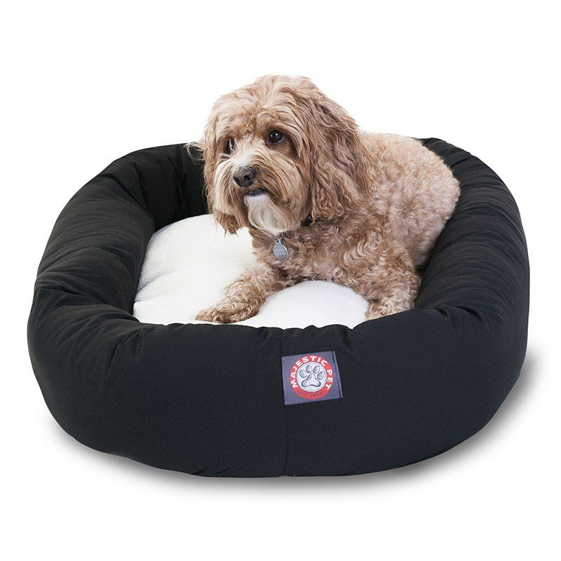 Majestic Pet Products 32-inch Black & Sherpa Bagel Dog Bed