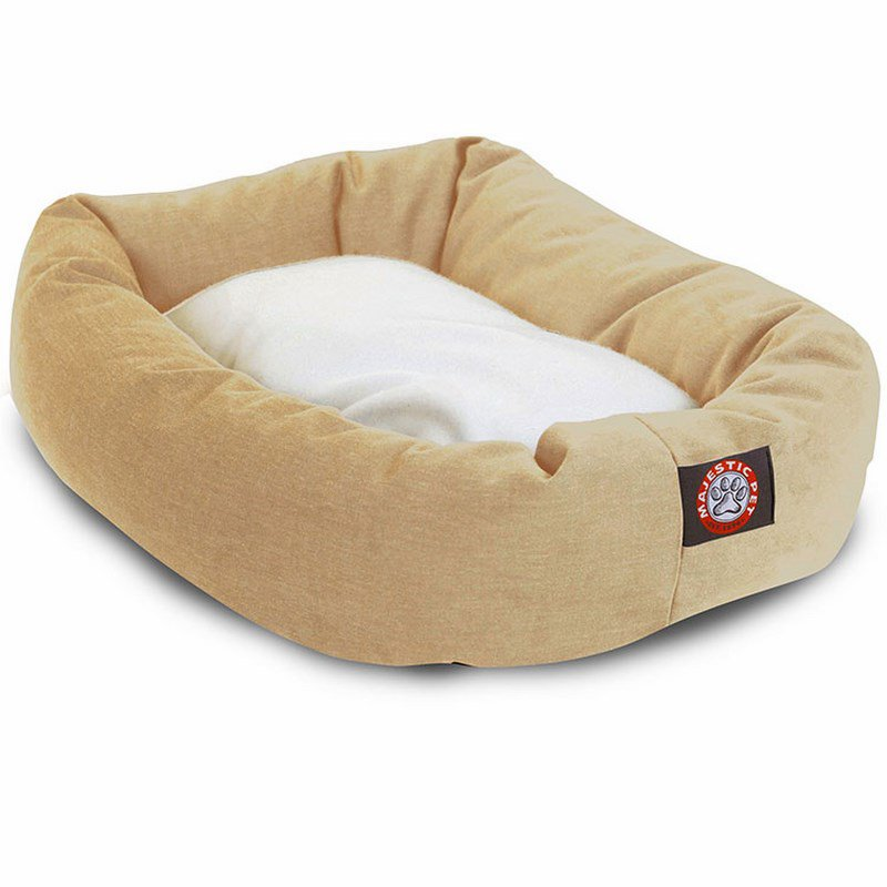 Majestic Pet Products 32-inch Khaki & Sherpa Bagel Dog Bed