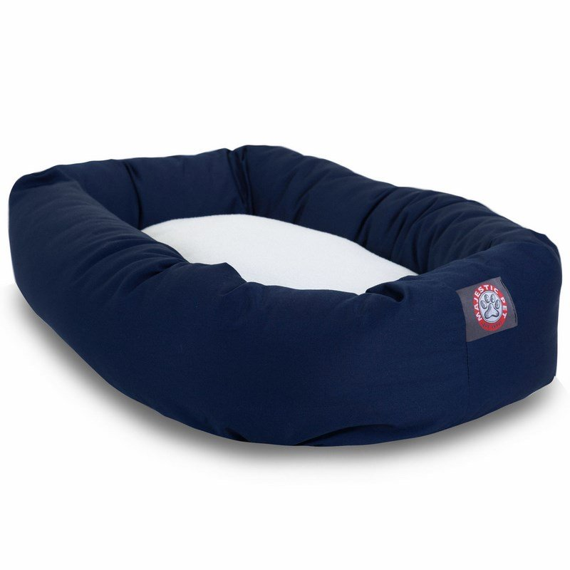 Majestic Pet Products 40-inch Blue & Sherpa Bagel Bed