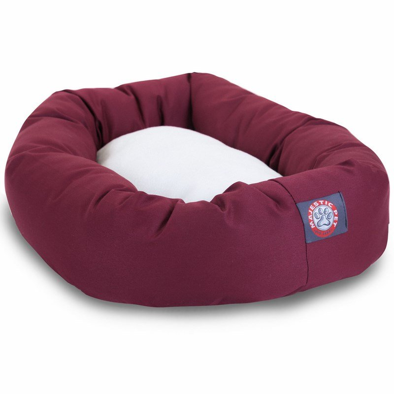 Majestic Pet Products 40-inch Burgundy & Sherpa Bagel Bed