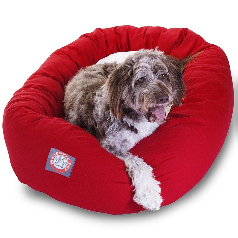 Majestic Pet Products 52-inch Red & Sherpa Bagel Bed