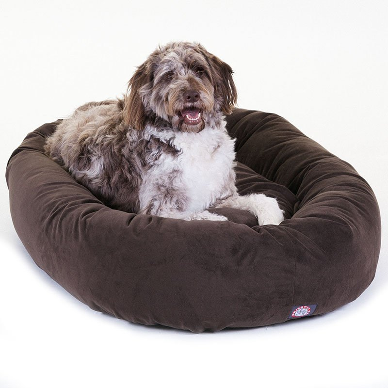 Majestic Pet Products 52-inch Chocolate Suede Bagel Dog Bed