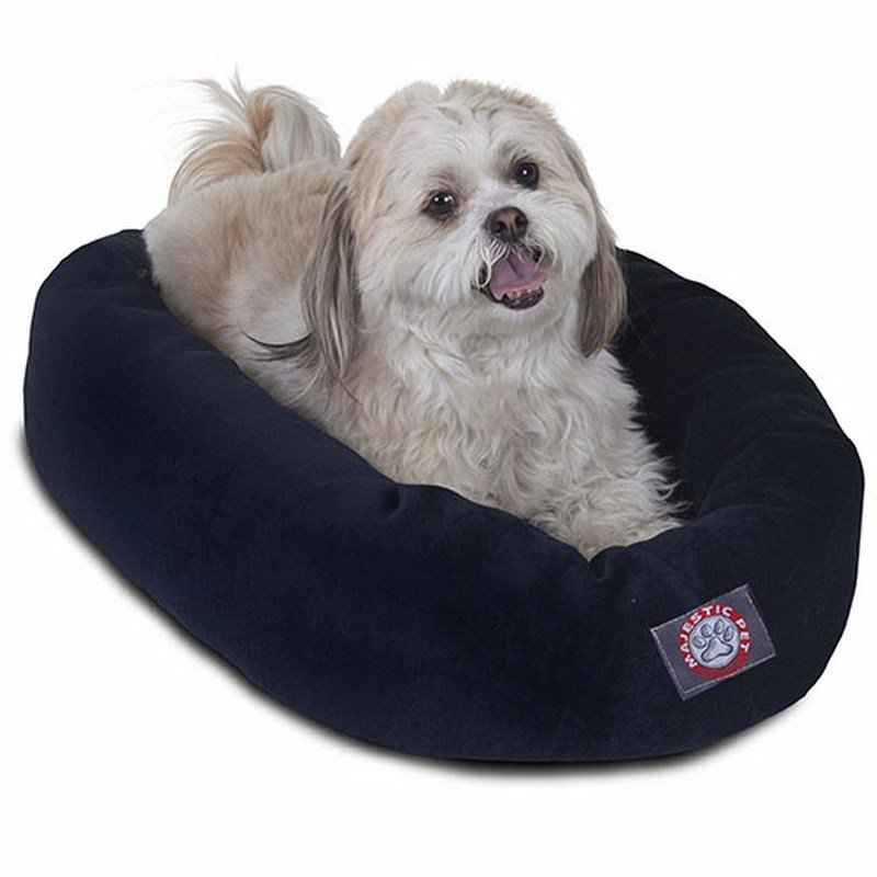 Majestic Pet Products 24-inch Navy Villa Collection Micro-Velvet Bagel Bed