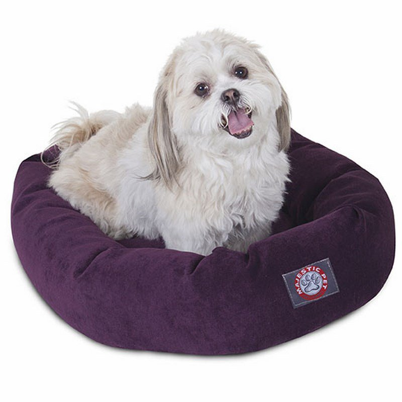 Majestic Pet Products 24-inch Aubergine Villa Collection Micro-Velvet Bagel Bed