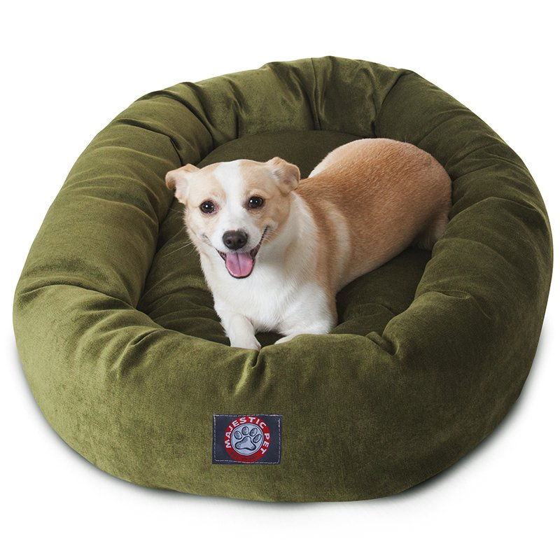 Majestic Pet Products 32-inch Fern Villa Collection Micro-Velvet Bagel Bed