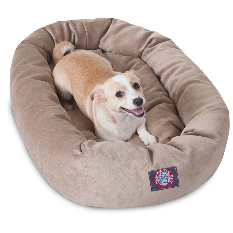 Majestic Pet Products 32-inch Pearl Villa Collection Micro-Velvet Bagel Bed
