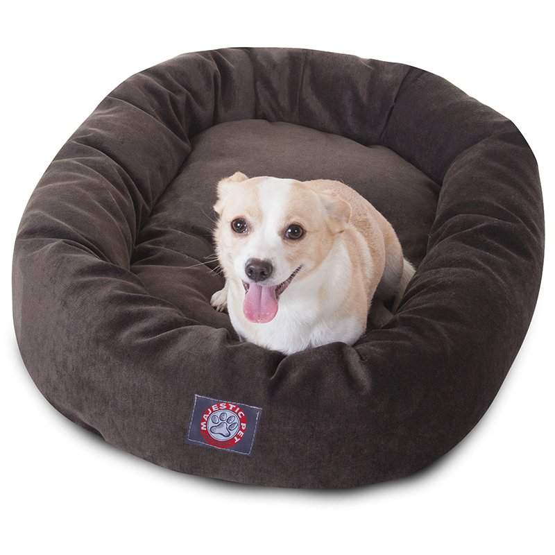 Majestic Pet Products 32-inch Storm Villa Collection Micro-Velvet Bagel Bed