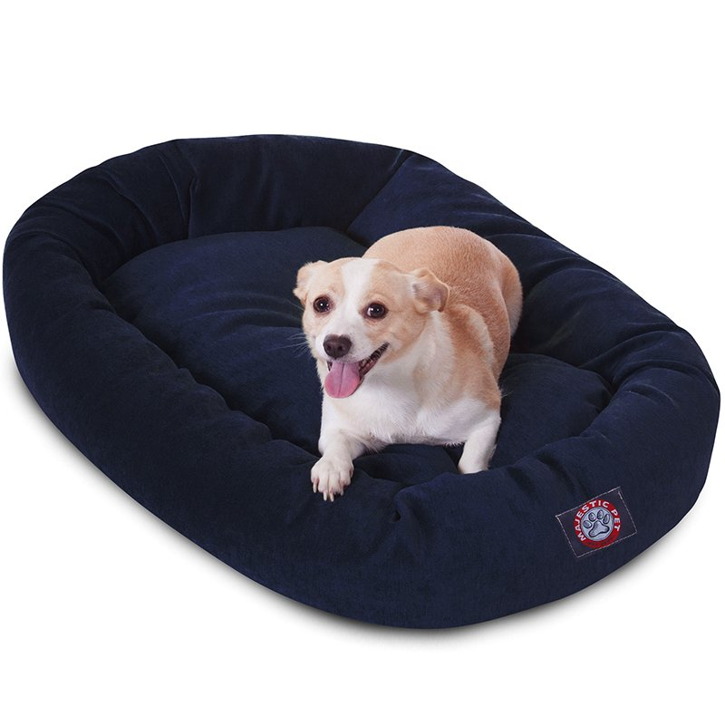 Majestic Pet Products 32-inch Navy Villa Collection Micro-Velvet Bagel Bed