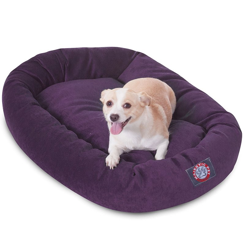 Majestic Pet Products 32-inch Aubergine Villa Collection Micro-Velvet Bagel Bed