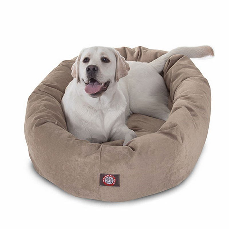 Majestic Pet Products 40-inch Pearl Villa Collection Micro-Velvet Bagel Bed