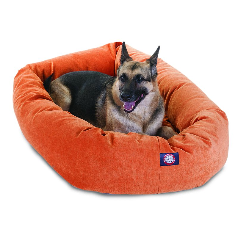 Majestic Pet Products 52-inch Orange Villa Collection Micro-Velvet Bagel Bed