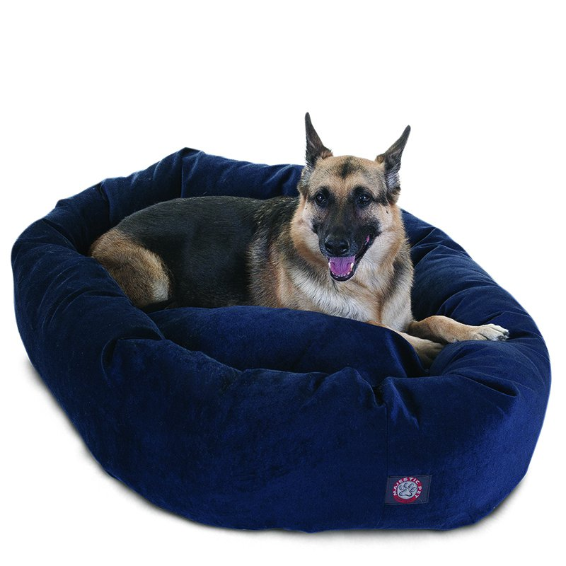 Majestic Pet Products 52-inch Navy Villa Collection Micro-Velvet Bagel Bed