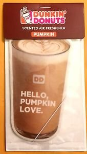 Dunkin Donuts Pumpkin Flavored Scented Car Air Freshener