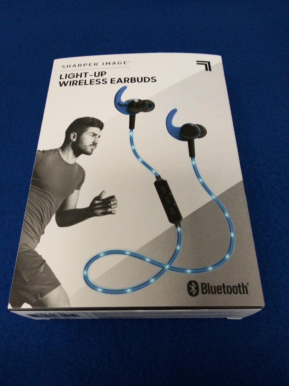 Sharper Image Light-Up LED Bluetooth Earbuds - Blue