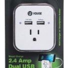 U YOUSE Visual Charge 2.4 Amp Dual USB WALL PLATE Smart Phone Holder