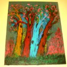 Four Multi-Colored Trees/Acrylic/Expressionism/Original/