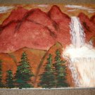 Red Mountains with Waterfall/Acrylic/Impressionism/New/