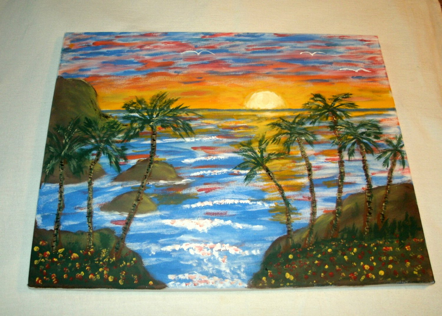 A Beautiful Tropical Sunset with Palm Trees/Acrylic/New/