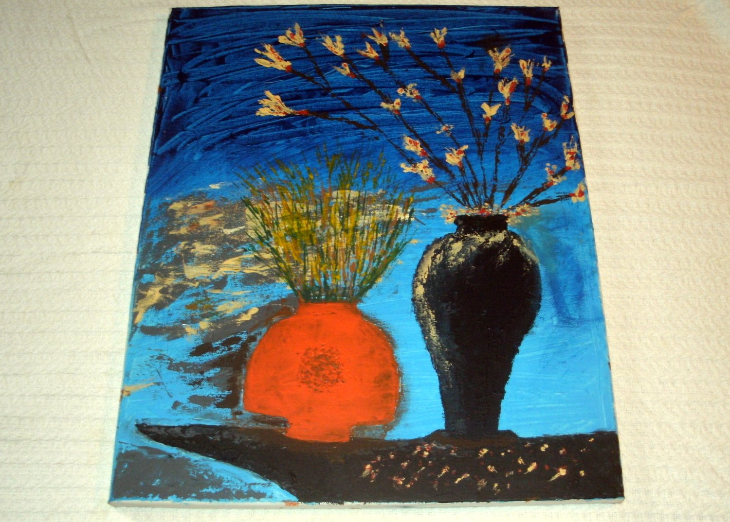 Floral in a Black Vase & Orange Bowl/Acrylic/Impressionism/New/