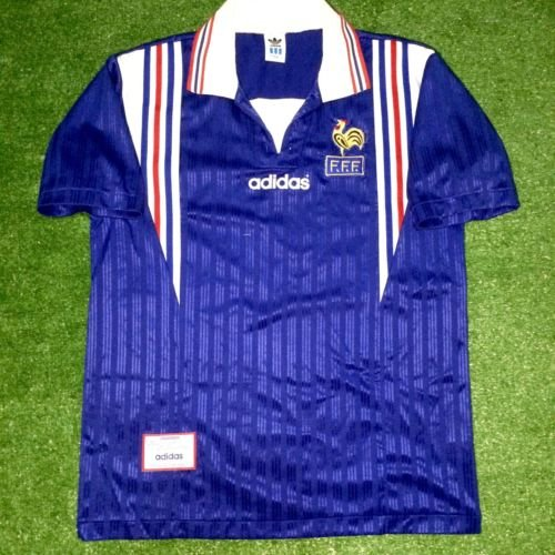 Mens Adidas France Home 1996 Size M Football Soccer Trikot Maillot Maglia Jersey