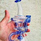 20 cm Blue Oil Rigs Glass Water Pipes With Perc Percolators