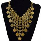 Bohemian Coin Tassel Fringe Bib Statement Choker Collar Necklace Gold Tone