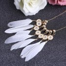 Fashion Women Jewelry Long White Feather Statement Necklaces