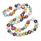 Women Fashion Colored Natural Freshwater Pearl Beads Necklace