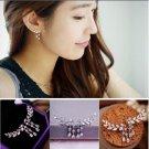 1x Pair Ladies Earrings dangle Crystal Jewelry Studs Leaf - 2 colors