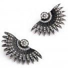 Black Art Deco Punk Rivet Fan Feather Chunky Stud Earrings