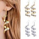 Elegant Bead Spiral Ear drops Long Dangle Hook Earrings - 2 colors